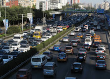 Beijing heavy traffic jam and cars Stock Image