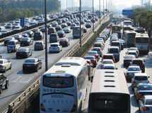 Beijing heavy traffic jam and cars Royalty Free Stock Image