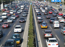 Beijing heavy traffic jam and cars Royalty Free Stock Photo