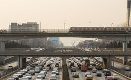 Beijing heavy traffic jam. In Beijing ,Traffic congestion is very serious.Vehicles traveling in extremely slow,This photo was taken on March 9, 2014 Stock Photo