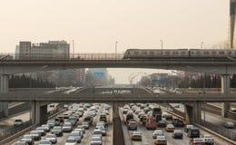 Beijing heavy traffic jam Stock Photo