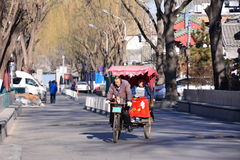 Beijing Houhai rickshaw tricycle stock photos