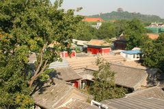 Beijing hutong. Overlooking the rooftops of an ancient beijin hutong area Stock Photography