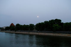 Beijing the Imperial Palace watchtower and moat. Beijing the Imperial Palace watchtower and the moat at the night Royalty Free Stock Photography