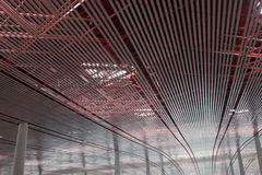 Beijing International Airport. Ceiling and Roof Structure of Beijing Airport ceiling Stock Photo