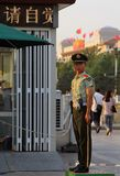 BEIJING - July 3: a soldier stands guard at Tiananmen square Royalty Free Stock Image