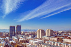 Beijing city landscape in sunny day  Royalty Free Stock Photos