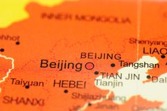 Beijing on map Royalty Free Stock Image