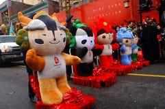 beijing maskotar 2008 Arkivbilder