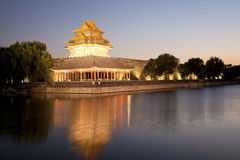Beijing moat tower. The turret of the forbidden city at dusk in beijing,China royalty free stock photo