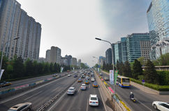 Beijing. Modern buildings and trafiic of Beijing, China Royalty Free Stock Photo