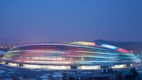 Beijing National Speed Skating Oval with rainbow color lights, China 2022 world winter Olympic