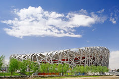 THE BEIJING NATIONAL STADIUM. Also known as the National Stadium, or the Bird's Nest for its architecture. It is now the new landmark of Beijing and is a new Royalty Free Stock Photo