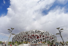 THE BEIJING NATIONAL STADIUM. Also known as the National Stadium, or the Bird's Nest for its architecture. It is now the new landmark of Beijing and is a new Stock Photos