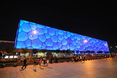 Beijing nationell Aquatics mitt - vattenkub Arkivfoton