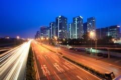 beijing natttrafik arkivbilder