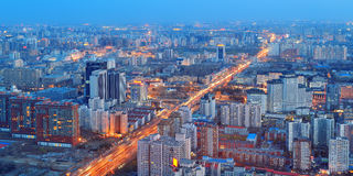Beijing at night. Aerial view with urban buildings Royalty Free Stock Photos