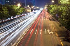 Beijing night scene in rush hour traffic Stock Photos