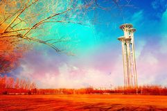 Beijing Olympic park tower. On colorful cloudy background Royalty Free Stock Image