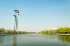 Beijing Olympic park tower landscape. Beijing Olympic tower landscape reflect in the lake Stock Images