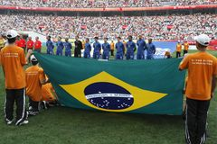 Beijing Olympic Soccer - Brazil v. New Zealand Royalty Free Stock Image