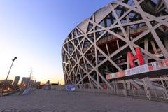 Niaochao olympic stadium sunrise, adobe rgb. Beijing olympic stadium at sunrise, known as the bird`s nest or niaochao Stock Photography