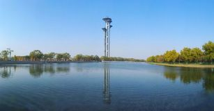 Beijing Olympic tower landscape. Reflect in the lake Stock Images