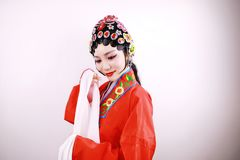 Close-up isolated white background Beijing opera Chinese female actress woman makeup traditional headwear costume drama portrait Royalty Free Stock Images