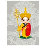 Beijing Opera Peking Opera Cartoon Chinese Traditional Art Hand drawn Illustration royalty free illustration