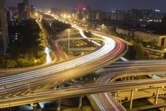 Beijing Overpass At Night Stock Photos