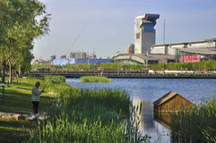 Beijing Pangu Plaza Hotel and river Royalty Free Stock Photography