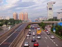 Beijing Pangu Plaza Hotel and Road Stock Photo