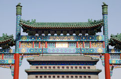 beijing qianmen den kinesiska porten fyrkantiga tiananmen till Royaltyfri Foto