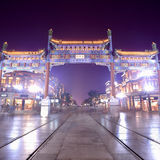 Beijing qianmen street at night Stock Photography