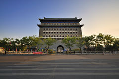 Beijing  Qianmen street and Qianmen gate tower Stock Image