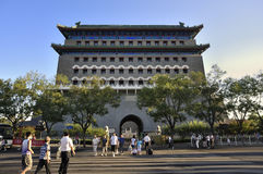 Beijing  Qianmen street and Qianmen gate tower Stock Photos