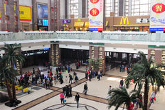 Beijing railway station hall. Tourists in the Beijing railway station hall Royalty Free Stock Image