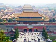 Beijing Forbidden City. Overlooking Beijing Forbidden City from Jingshan Park in Beijing China stock photo