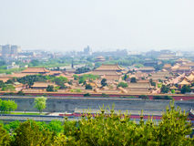 Beijing Forbidden City view. Overlooking Beijing Forbidden City buildings from Jingshan Park in Beijing China Royalty Free Stock Images