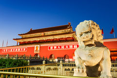 Beijing's tiananmen square in front of the stone lion,in China Stock Photos