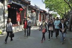 Beijing Shichahai gata, Beijing Hutong lopp Royaltyfri Fotografi