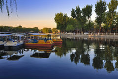 Beijing Shichahai lake,Beijing Travel. Shichahai is a scenic spot in Beijing city center.Around Shenshahai has many historical construction and the garden.The Stock Photography