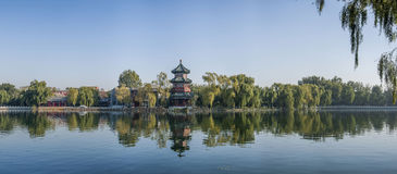 Beijing Shichahai after the sea. After the sea, is a part of the Millennium Shichahai, is a water and can watch mountain, weeping willow shuffle of idle land Stock Photos