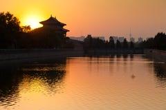 Beijing skyline. Sunset over forbidden city in Beijing Stock Photos