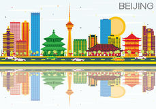 Beijing Skyline with Color Buildings, Blue Sky and Reflections. Vector Illustration. Business Travel and Tourism Concept with Modern Architecture. Image for Stock Illustration