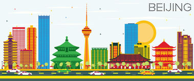 Beijing Skyline with Color Buildings and Blue Sky. Vector Illustration. Business Travel and Tourism Concept with Modern Architecture. Image for Presentation Stock Photo