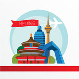 Beijing skyline, detailed silhouette. Trendy vector illustration flat style. Stock Photos
