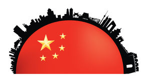 Beijing Skyline flag atmosphere stock illustration