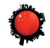 The Beijing Skyline Flag Globe Stock Photos