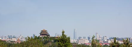 Beijing Skyline Looking East from Beihai Park. Pavilion in the foreground is in Jingshan Park Stock Image